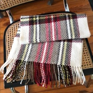 "Burberry Wrap with Fringe. 13.5"" Wide. 70"" Long."
